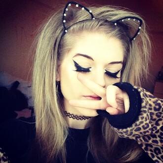 cats cat eye hair accessories cat ears choker necklace peace sign marinamew marina joyce