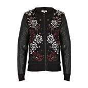 jacket,quilted,embellished,embellished jacket,embroidered,flowers,bomber jacket,black bomber jacket