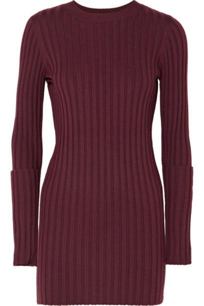 Joseph tunic zip embellished wool burgundy top