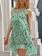 dress,floral,mint,summer,spring,girly,asymmetrical,dressfo,summer dress,green dress,fashion,trendy,sleeveless dress