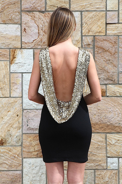 Backless back sequin black gold shiny brilliant dress party prom