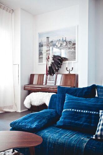 home accessory sofa home furniture blue rug boho decor