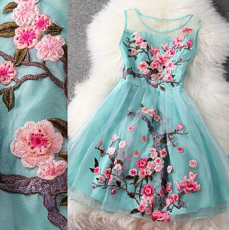 High Quality Pretty Blue Organza Dress With Embroidery, Blue Knee Length Dress With Embroidery on Luulla