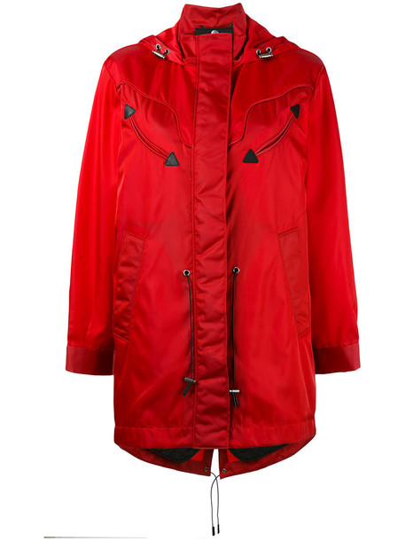 coat parka women leather red