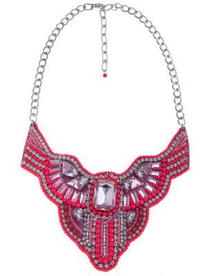 Pink embellished bib necklace