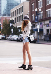 sunglasses,sweater,bag,belt,shorts,shoes,susanna boots,ankle boots,boots,black boots,studded shoes,buckle boots,buckles,hat,grey hat,cable knit,white cable knit sweater,black bag,ysl bag,denim shorts