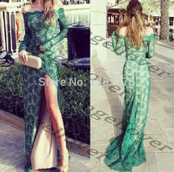 Aliexpress.com : Buy 2014 Off Shoulder Sexy Green Lace vestido longo de festa com renda Long Sleeve Mermaid Evening Dresses Nude Lining Split Dress from Reliable gowns china suppliers on AngelLover Weddings&Events Dresses Co.,Ltd.