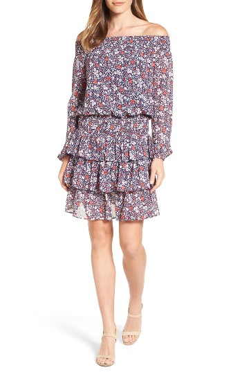MICHAEL Michael Kors Brooks Print Off the Shoulder Dress | Nordstrom