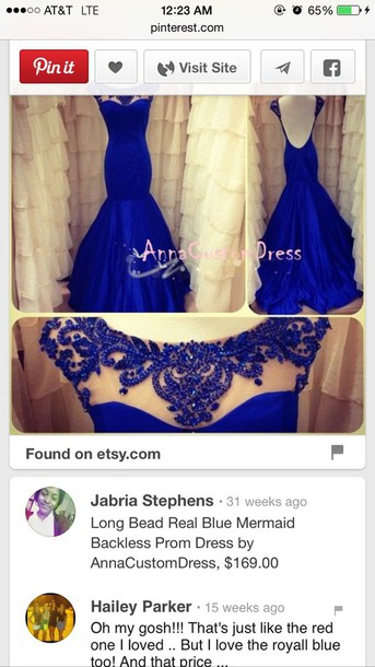 dress blue dress beaded dress backless prom dress