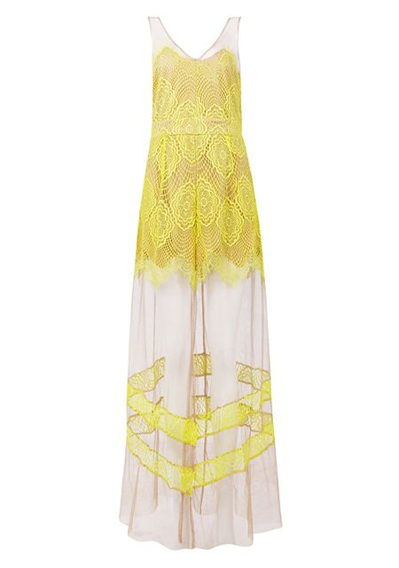 Women's sexy deep v mesh perspective slit yellow lace dresses online