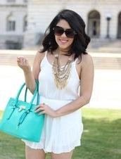 romper,white,white romper,gold statement nacklace,sunglasses,blue bag,blogger