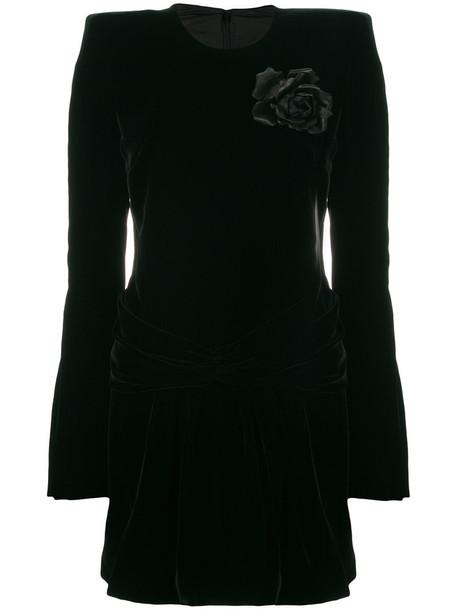 Saint Laurent dress women black silk velvet