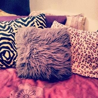 skirt pillow faux fur zebra leopard print pink sunglasses purple