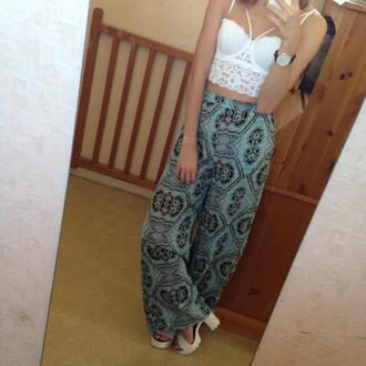 top white t-shirt coachella high heels hippie bra american apparel pants