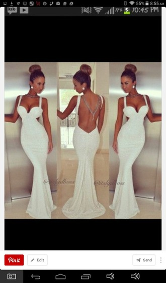 dress white dress prom dress backless dress long prom dress sleeveless