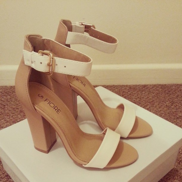 Shoes: nude high heels, white heels, chunky heels, sandal heels ...