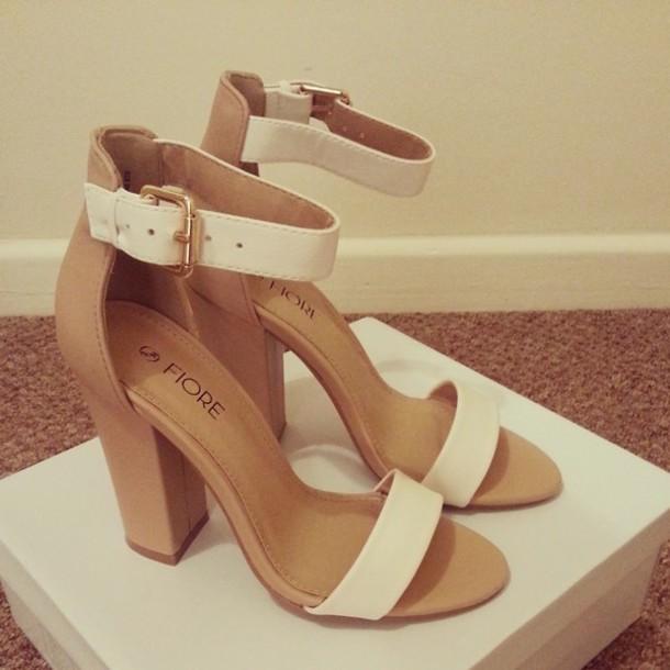 shoes nude high heels white heels chunky heels sandal heels