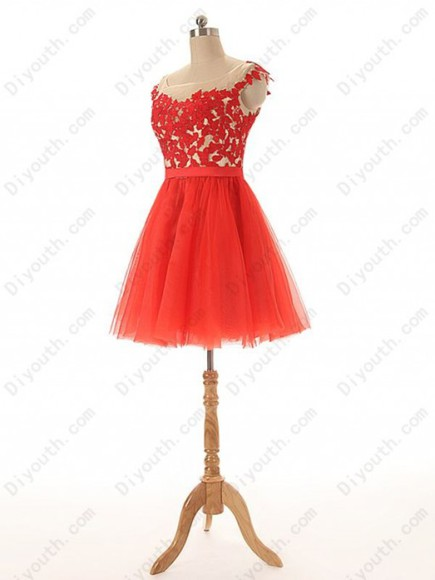 red dress prom dress party dress short dress homecoming dress lace dress cap sleeve dress short party dress knee length dress a line prom gowns
