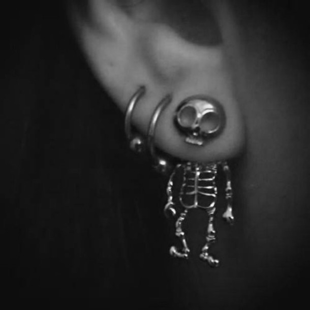 jewels skull earrings silver cool skeleton earrings skull earrings skelton earrings skull grunge grunge soft grunge earphones jewelry bones funny skeleton earring scull earings cute scary gold hipster ear idk love more Skull Body Jewelry earrings piercing halloween accessory grunge jewelry
