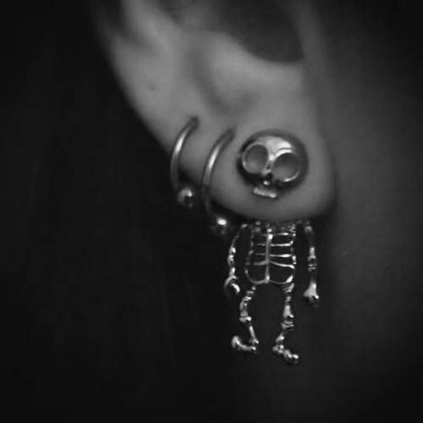jewels skull earrings silver cool skeleton earrings skull earrings skelton earrings skull grunge grunge soft grunge earphones jewelry bones funny skeleton earring scull earings cute scary gold hipster ear idk love more Skull Body Jewelry earrings piercing halloween accessory grunge jewelry
