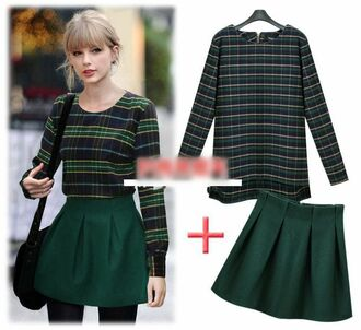 top taylor taylor swift green plaid tartan long sleeves