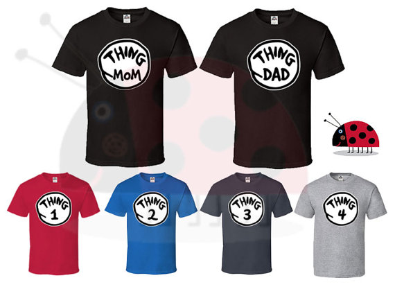 30d18d24ac Price for 1 T Shirt - Thing Mom Dad 1 2 3 4 T Shirt Dr Seuss Couple Perfect  Matching ...