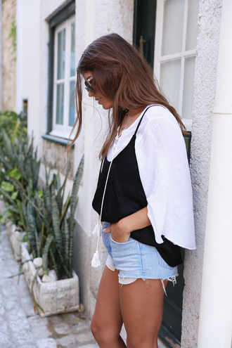 seams for a desire blogger tank top long sleeves white top denim shorts cami top