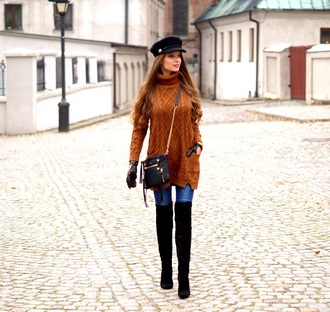 only my fashion style blogger sweater jewels bag gloves shoes turtleneck sweater fall outfits thigh high boots crossbody bag