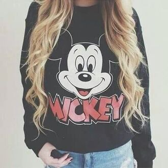 sweater mickey mouse printed sweater shirt mikey disney disney sweater black tumblr girl mickey mouse hoodies blouse pullover hair lovely top mickey mouse shirt disney princess mickey mousse cute sweater