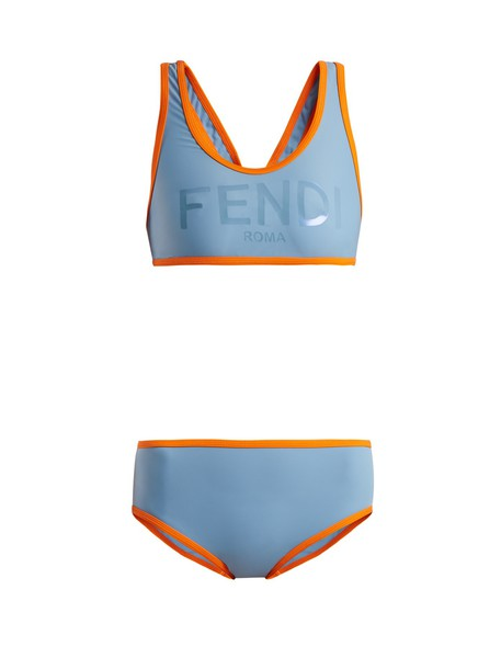 Fendi bikini back print blue swimwear