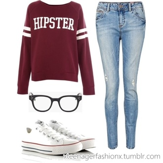 back to school converse glasses sweater
