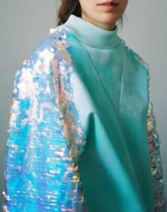 shirt sparkle sequins blue holographic sweater jacket sequin dress gold sequins style hoodie glitter holographic top aqua fall sweater winter sweater