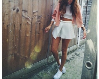 jacket peach cardigan crop cropped mini skirt top vintage style blouse white skirt exactly these pleated skirt