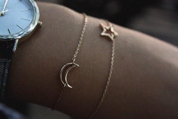Jewels: gold, stars, chain, moon, bracelets, elegant ...