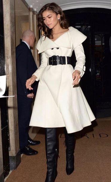 coat coat dress zendaya boots belt winter coat
