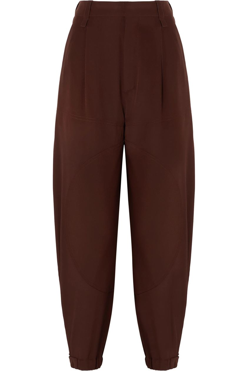 Chloé Woman Silk Crepe De Chine Tapered Pants Brown Size 36