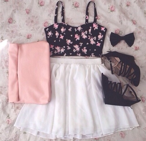 bag pink bag shoes flower bustier flower crop top black strappy wedges white skirt shirt skirt
