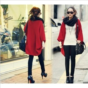 2013Fashion Women Batwing Bat Sleeve Cardigan Sweater Loose Long Cape Coat Knit Crochet Tops Wrap Shawl-inCardigans from Apparel & Accessories on Aliexpress.com