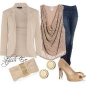 blouse,shirt,top,gold top,outfit,party outfits,formal event outfit,jeans,blazer suit top,bag,shoes