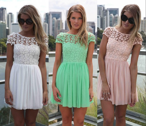 summer dress 2014 dresses short dress lace dress women dresses white dress green dress pink dress women dress
