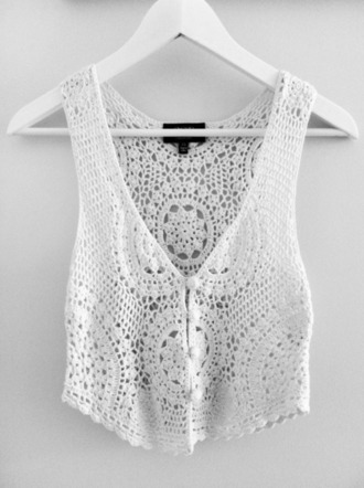 tank top crochet top crochet tumblr tumblr top vest white white tank top buttons shirt crop tops festival boho lace knit jacket summer knitwear top blouse