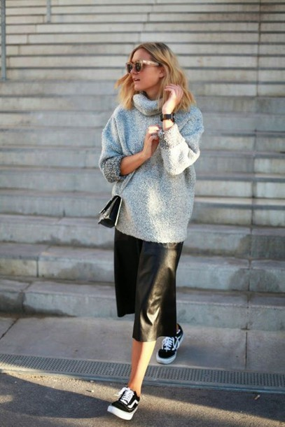 pants leather culottes black culottes culottes black pants leather pants sneakers black sneakers vans low top sneakers sweater grey sweater oversized sweater turtleneck bag crossbody bag sunglasses fall outfits shoes oversized grey sweater vans blogger