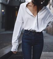 shirt,streetstyle,streetwear,street,white shirt,denim,fashion,style,blogger,long sleeves,top,white top,white,oversized,oversized shirt,black choker,casual,white blouse,blouse,levi's,minimalist,summer outfits,spring outfits,classic,high waisted jeans,chic