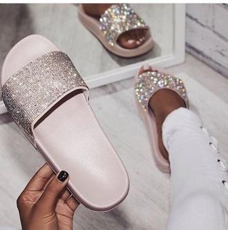 shoes glitter sequins pink slide shoes sparkle