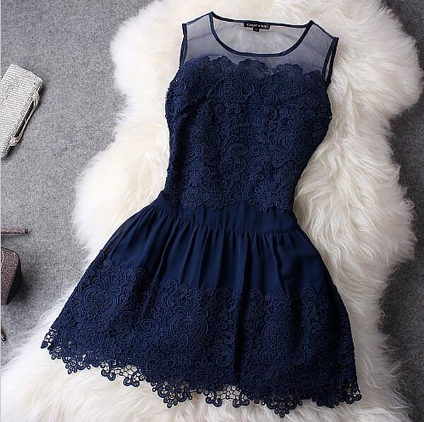 feclothing                  - Novelty Lace Patchwork Dress Sleeveless Tank Women's Fashion Dresses