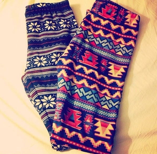 pants printed tights tribal pattern