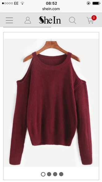 sweater burgundy red jumper cute cut-out cold shoulder cold shoulder sweater