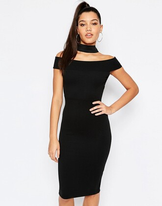 dress choker dress little black dress off the shoulder cocktail dress
