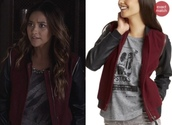 jacket,emily fields,shay mitchell,dark red,pretty little liars,leather jacket,burgundy,fall sweater,sweater,worn by shay mitchell as emily fields on pretty little liars