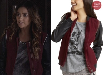 jacket emily fields shay mitchell dark red pretty little liars leather jacket burgundy fall sweater sweater worn by shay mitchell as emily fields on pretty little liars